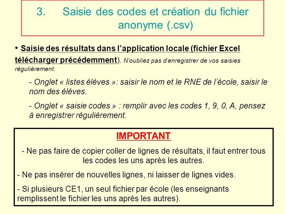 3.Saisie des codes et création du fichier anonyme (.csv) Saisie des résultats dans lapplication locale (fichier Excel télécharger précédemment). Noubl