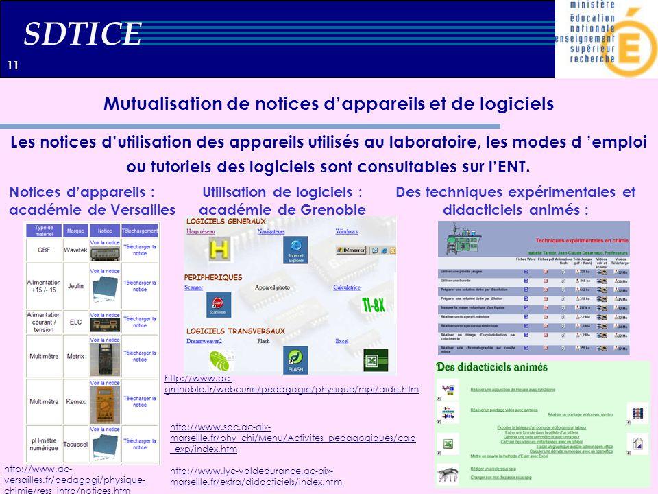 SDTICE Mutualisation de notices dappareils et de logiciels Les notices dutilisation des appareils utilisés au laboratoire, les modes d emploi ou tutor