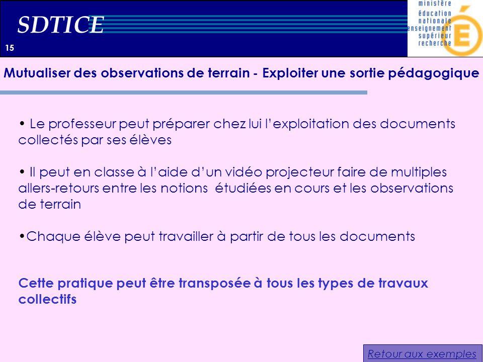 SDTICE Le professeur peut préparer chez lui lexploitation des documents collectés par ses élèves Il peut en classe à laide dun vidéo projecteur faire
