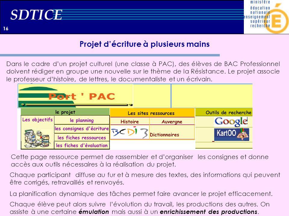 SDTICE Projet décriture à plusieurs mains Dans le cadre dun projet culturel (une classe à PAC), des élèves de BAC Professionnel doivent rédiger en gro