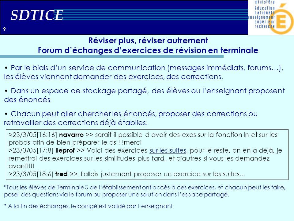 SDTICE Réviser plus, réviser autrement Forum déchanges dexercices de révision en terminale Par le biais dun service de communication (messages immédia
