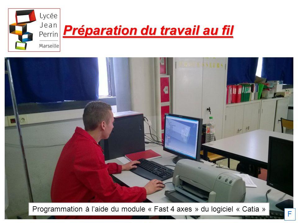 Préparation du travail au fil Programmation à laide du module « Fast 4 axes » du logiciel « Catia » F