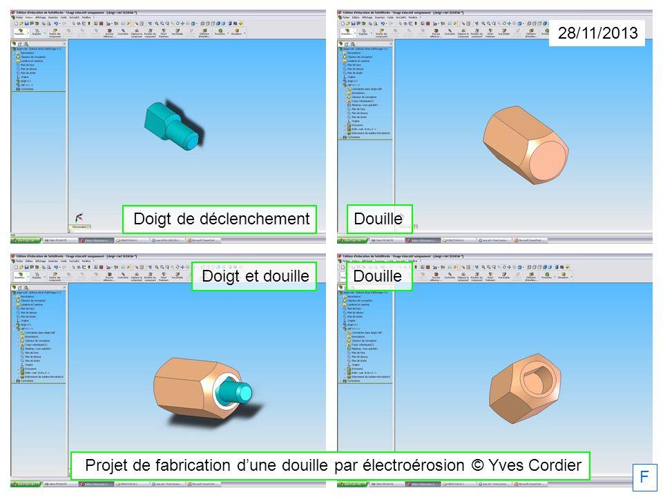 28/11/2013 Projet de fabrication dune douille par électroérosion © Yves Cordier F Doigt de déclenchement Douille Doigt et douille