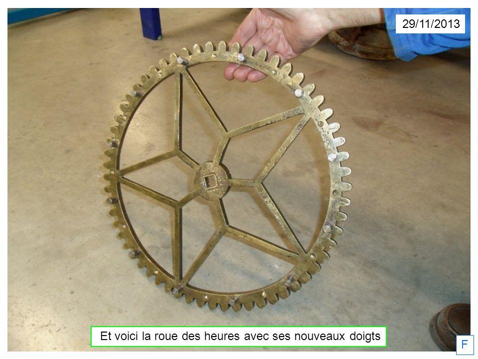 29/11/2013 Et voici la roue des heures avec ses nouveaux doigts F