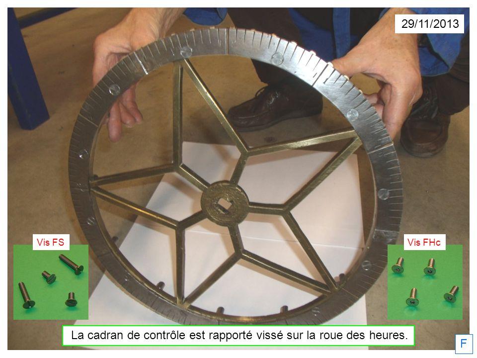 29/11/2013 La cadran de contrôle est rapporté vissé sur la roue des heures. F Vis FSVis FHc