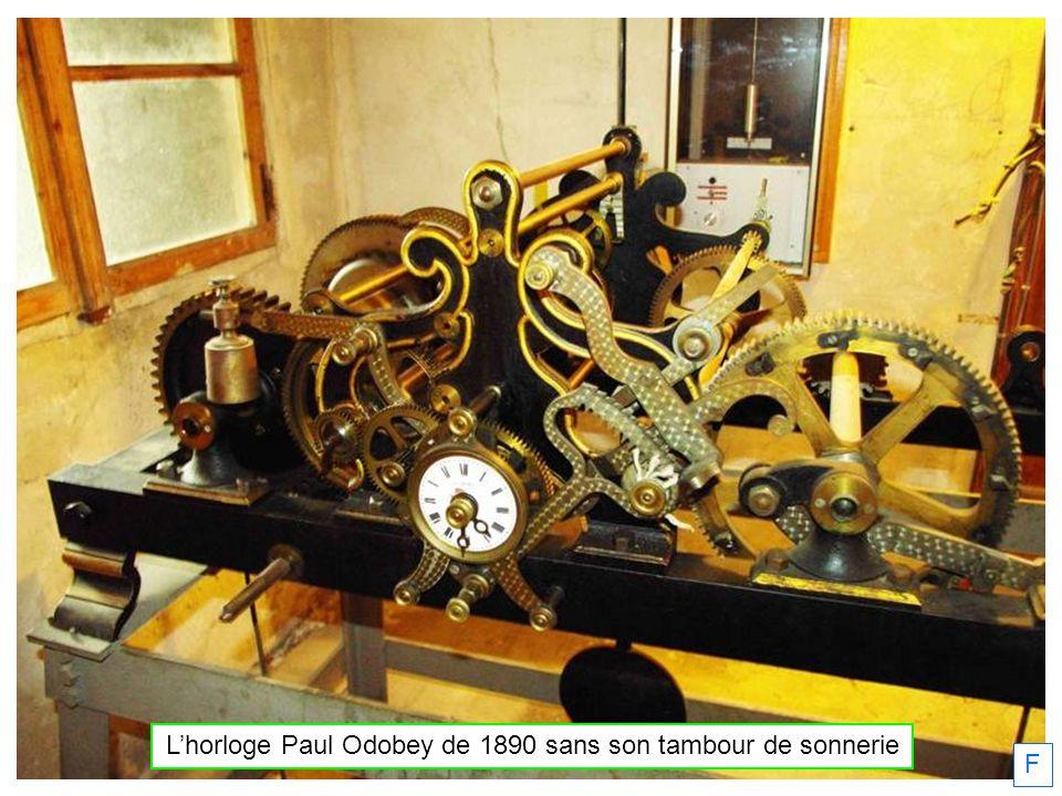 Lhorloge Paul Odobey de 1890 sans son tambour de sonnerie F