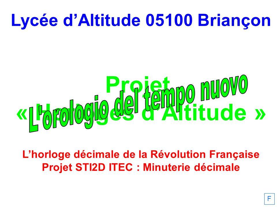 F Lycée dAltitude 05100 Briançon Projet « Horloges dAltitude » Lhorloge décimale de la Révolution Française Projet STI2D ITEC : Minuterie décimale