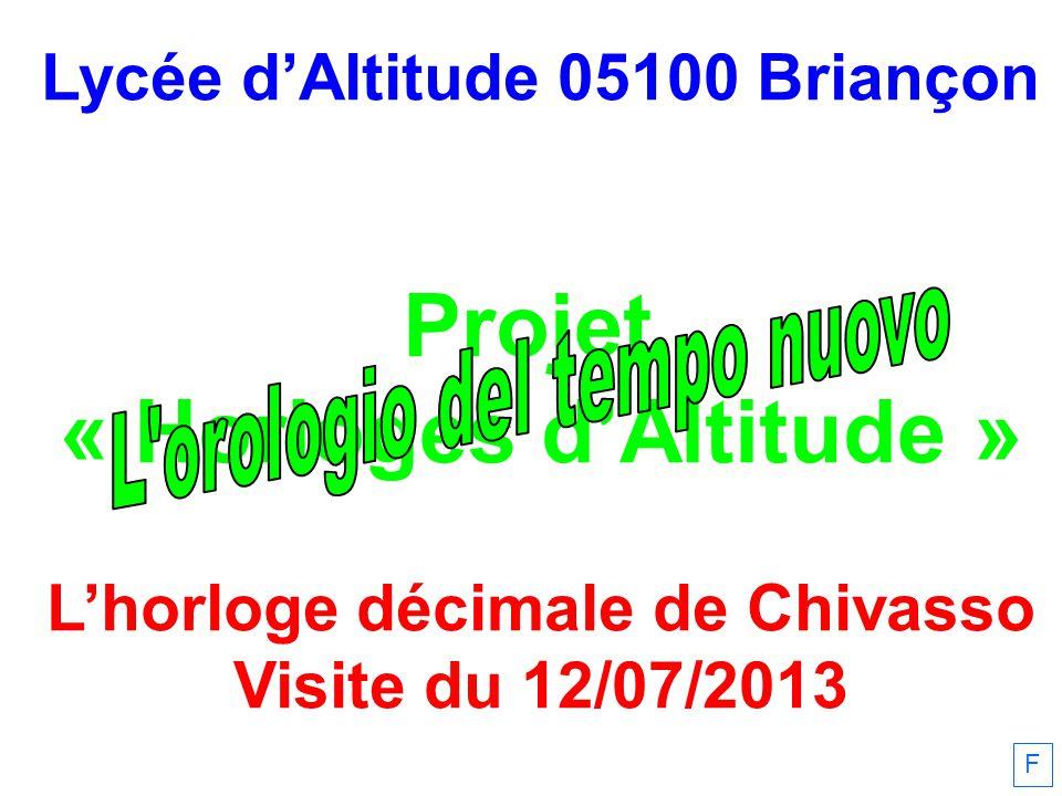 F Lycée dAltitude 05100 Briançon Projet « Horloges dAltitude » Lhorloge décimale de Chivasso Visite du 12/07/2013