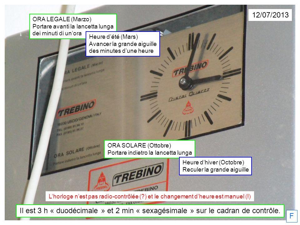 12/07/2013 F Il est 3 h « duodécimale » et 2 min « sexagésimale » sur le cadran de contrôle. ORA SOLARE (Ottobre) Portare indietro la lancetta lunga H