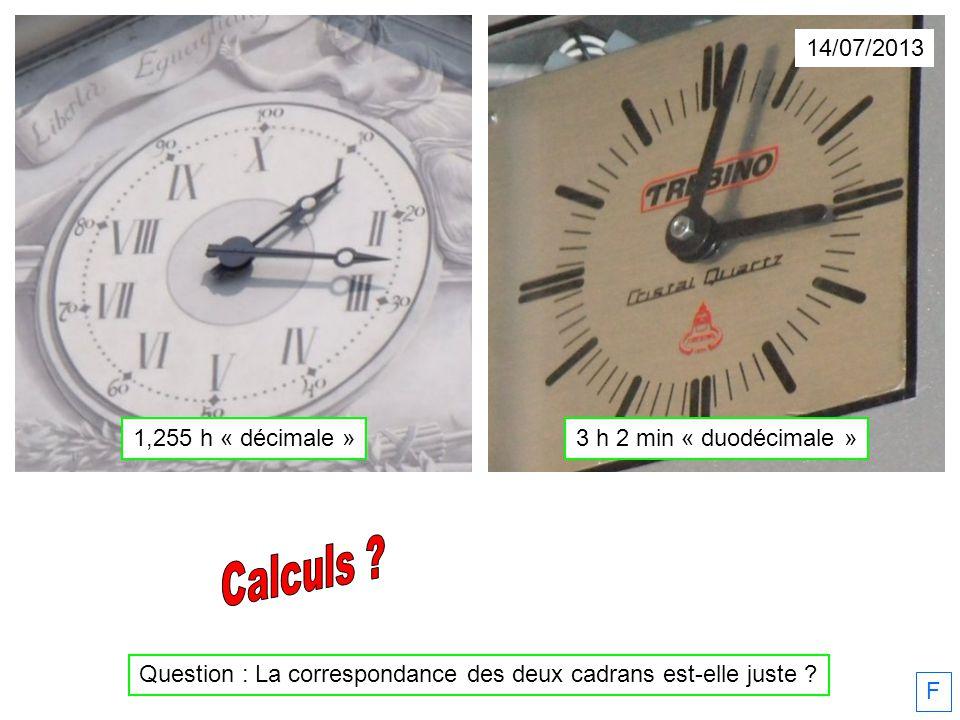 14/07/2013 F Question : La correspondance des deux cadrans est-elle juste ? 1,255 h « décimale »3 h 2 min « duodécimale »