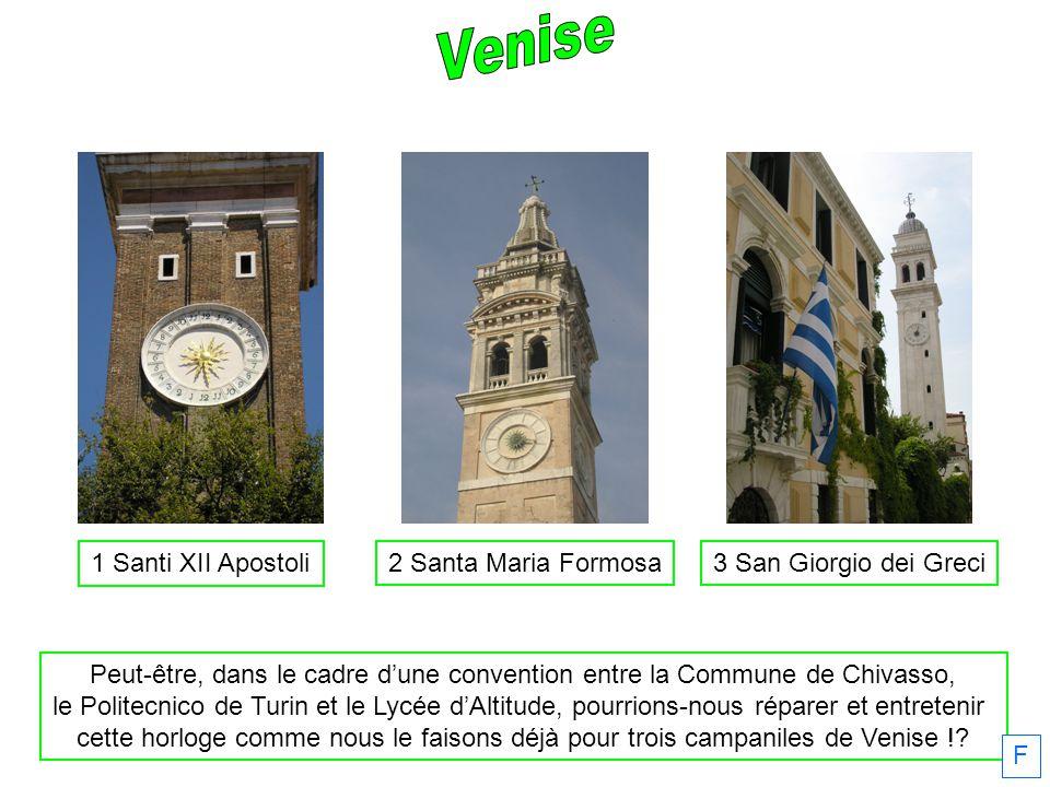 1 Santi XII Apostoli 2 Santa Maria Formosa3 San Giorgio dei Greci Peut-être, dans le cadre dune convention entre la Commune de Chivasso, le Politecnic