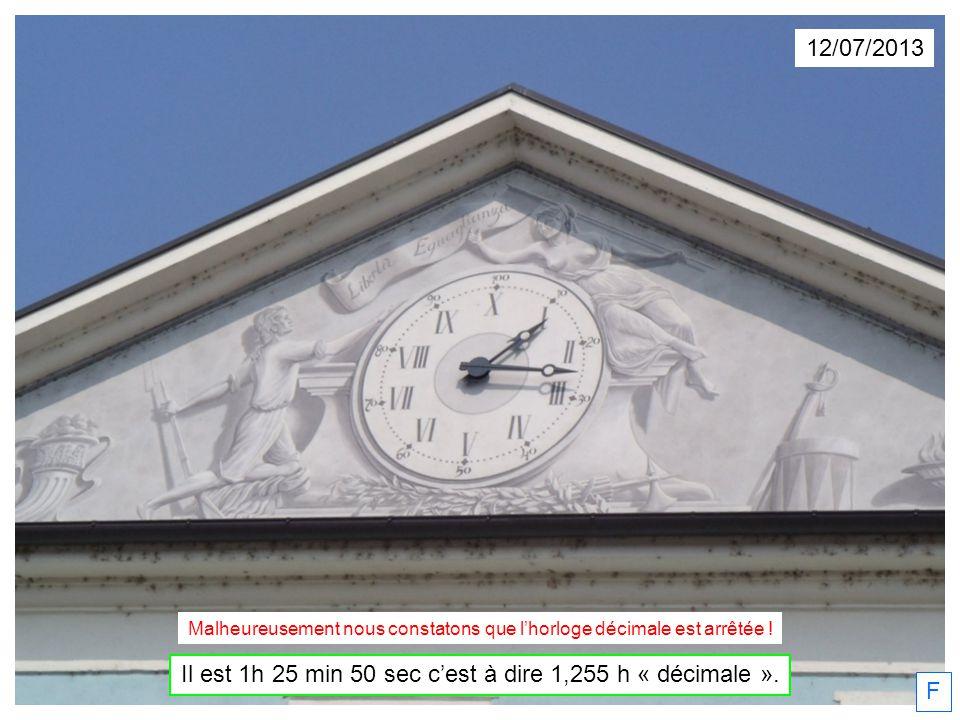 12/07/2013 Il est 1h 25 min 50 sec cest à dire 1,255 h « décimale ». F Malheureusement nous constatons que lhorloge décimale est arrêtée !