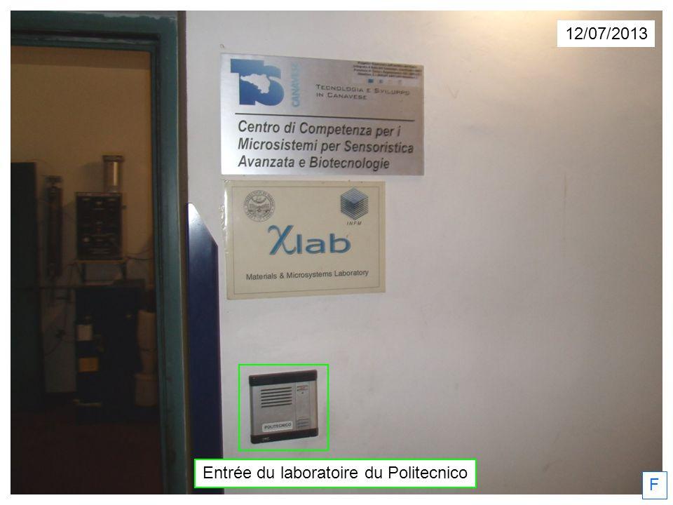 12/07/2013 Entrée du laboratoire du Politecnico F