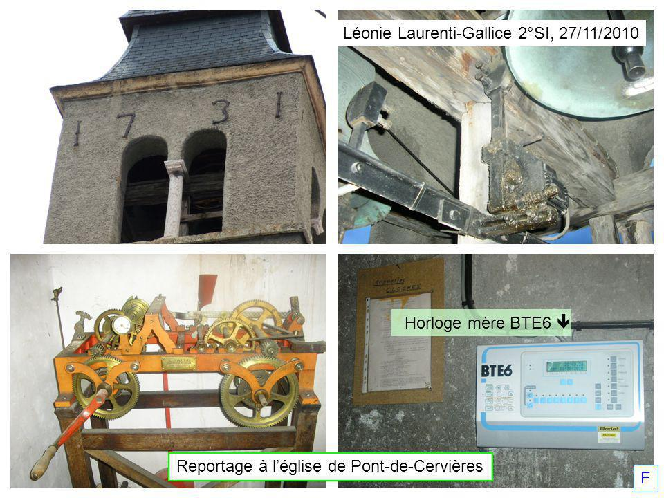 Horloge mère BTE6 Léonie Laurenti-Gallice 2°SI, 27/11/2010 Reportage à léglise de Pont-de-Cervières F