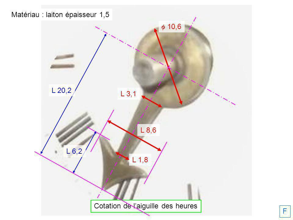 Cotation de laiguille des heures F 10,6 L 20,2 L 3,1 L 1,8 L 6,2 L 8,6 Matériau : laiton épaisseur 1,5