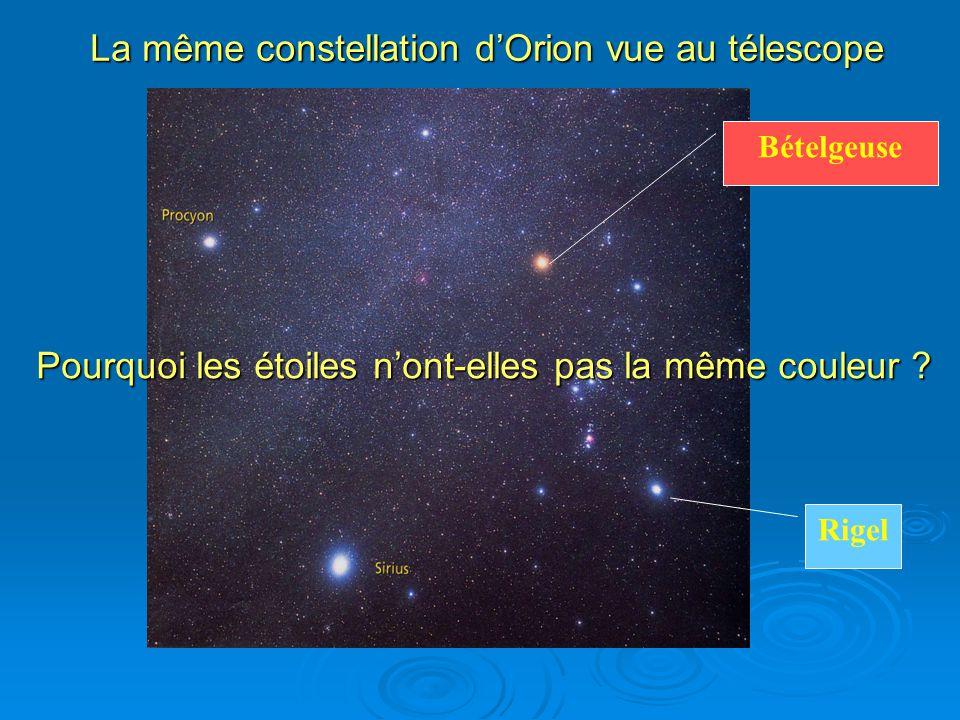 La même constellation dOrion vue au télescope Bételgeuse Rigel Pourquoi les étoiles nont-elles pas la même couleur ?