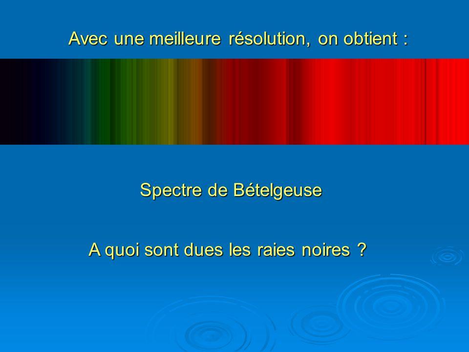 Avec une meilleure résolution, on obtient : Spectre de Bételgeuse A quoi sont dues les raies noires ?