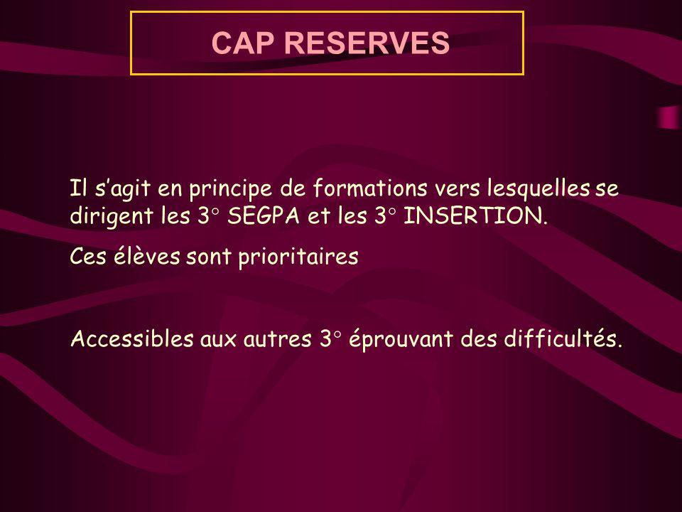 CAP RESERVES Il sagit en principe de formations vers lesquelles se dirigent les 3° SEGPA et les 3° INSERTION. Ces élèves sont prioritaires Accessibles