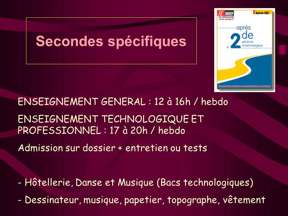 Secondes spécifiques ENSEIGNEMENT GENERAL : 12 à 16h / hebdo ENSEIGNEMENT TECHNOLOGIQUE ET PROFESSIONNEL : 17 à 20h / hebdo Admission sur dossier + en