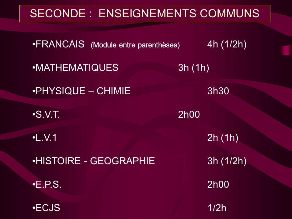 FRANCAIS (Module entre parenthèses) 4h (1/2h) MATHEMATIQUES3h (1h) PHYSIQUE – CHIMIE3h30 S.V.T.2h00 L.V.12h (1h) HISTOIRE - GEOGRAPHIE3h (1/2h) E.P.S.