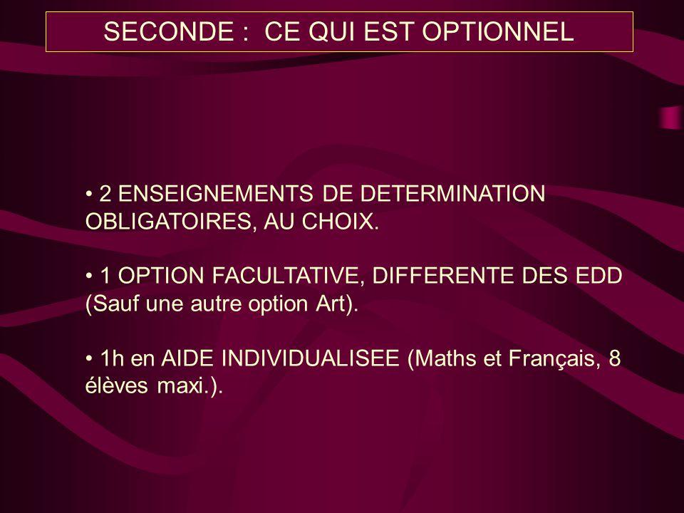 2 ENSEIGNEMENTS DE DETERMINATION OBLIGATOIRES, AU CHOIX. 1 OPTION FACULTATIVE, DIFFERENTE DES EDD (Sauf une autre option Art). 1h en AIDE INDIVIDUALIS