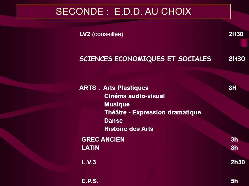 LV2 (conseillée)2H30 GREC ANCIEN3h LATIN3h L.V.32h30 E.P.S.5h ARTS : Arts Plastiques3H Cinéma audio-visuel Musique Théâtre - Expression dramatique Dan