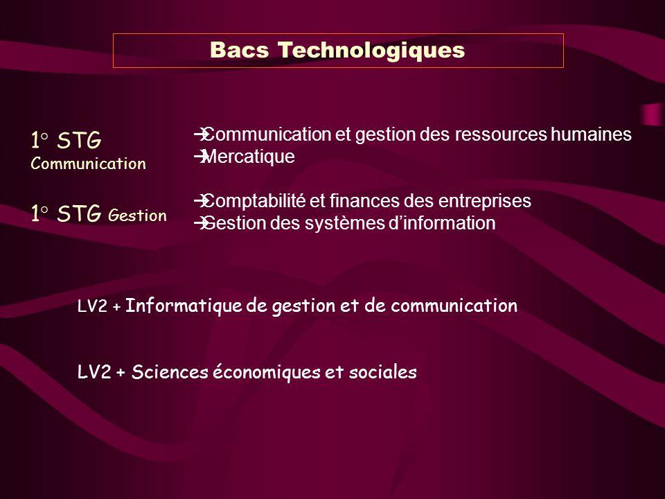 Bacs Technologiques 1° STG Communication LV2 + Informatique de gestion et de communication LV2 + Sciences économiques et sociales Communication et ges