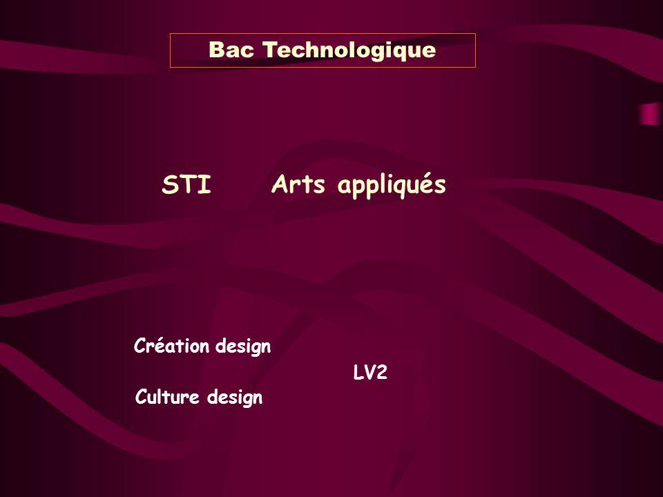 Bac Technologique STI Arts appliqués Création design LV2 Culture design