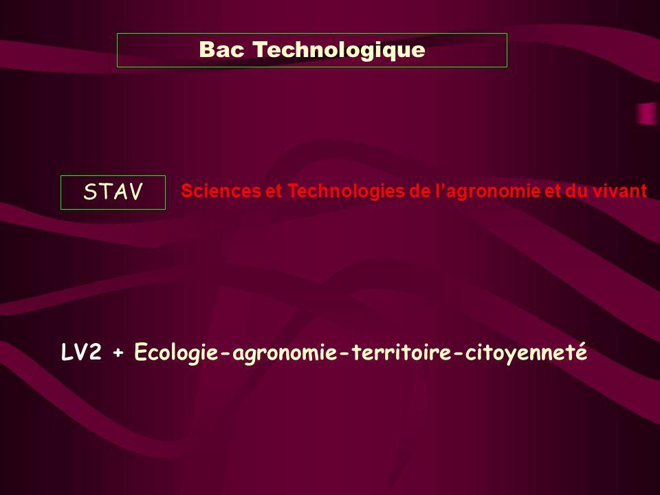Bac Technologique STAV Sciences et Technologies de lagronomie et du vivant LV2 + Ecologie-agronomie-territoire-citoyenneté