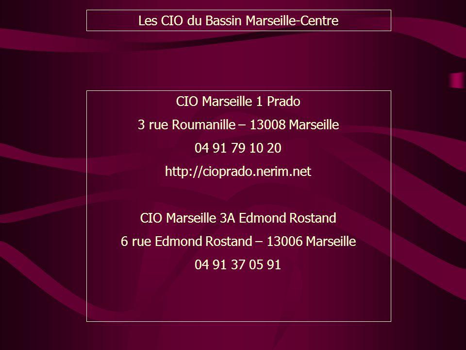 Les CIO du Bassin Marseille-Centre CIO Marseille 1 Prado 3 rue Roumanille – 13008 Marseille 04 91 79 10 20 http://cioprado.nerim.net CIO Marseille 3A