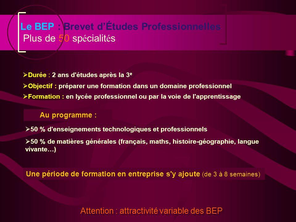 Objectif : préparer une formation dans un domaine professionnel Formation : en lycée professionnel ou par la voie de l'apprentissage Formation : en ly
