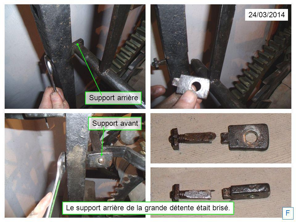 24/03/2014 F Le support arrière de la grande détente était brisé. Support arrière Support avant