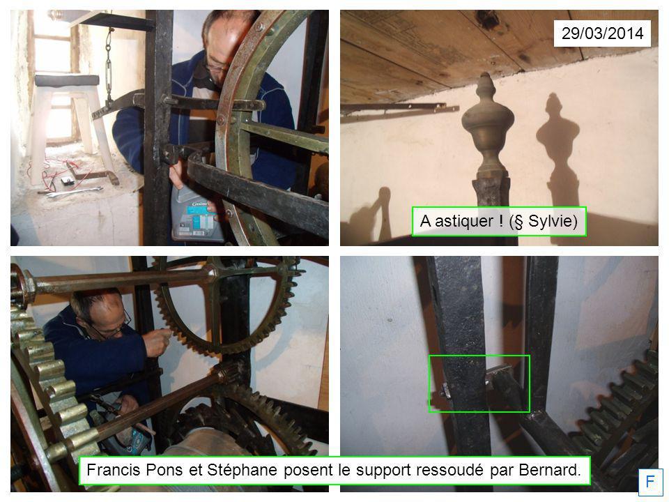 29/03/2014 Francis Pons et Stéphane posent le support ressoudé par Bernard. F A astiquer ! (§ Sylvie)