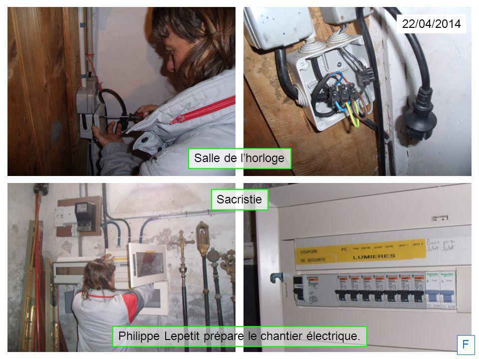 Philippe Lepetit prépare le chantier électrique. 22/04/2014 F Salle de lhorloge Sacristie