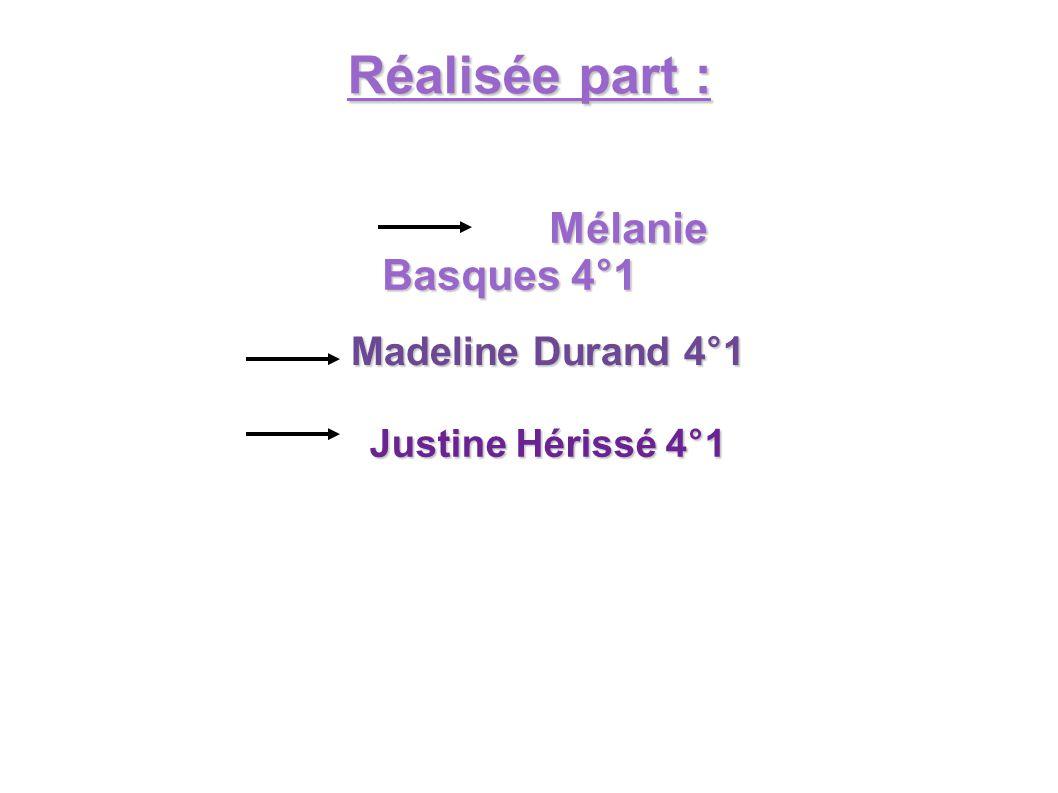 Réalisée part : Mélanie Basques 4°1 Mélanie Basques 4°1 Madeline Durand 4°1 Justine Hérissé 4°1