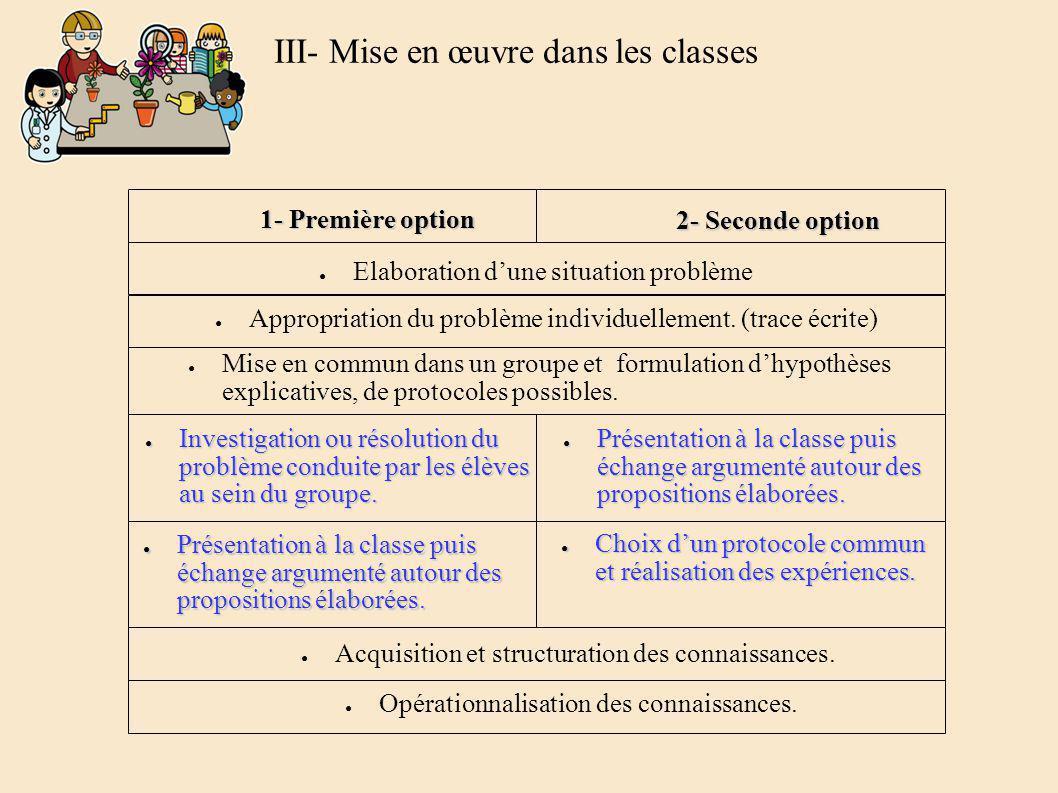 1- Première option 2- Seconde option Elaboration dune situation problème Appropriation du problème individuellement.