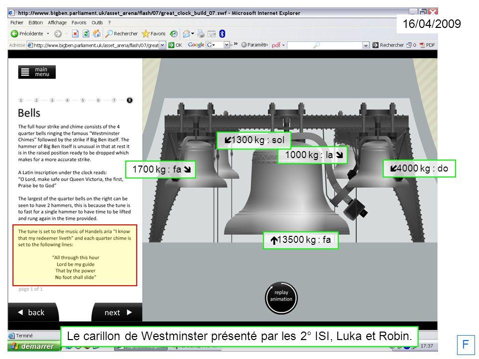 F 1000 kg : la 4000 kg : do 1300 kg : sol 1700 kg : fa 13500 kg : fa Le carillon de Westminster présenté par les 2° ISI, Luka et Robin. 16/04/2009