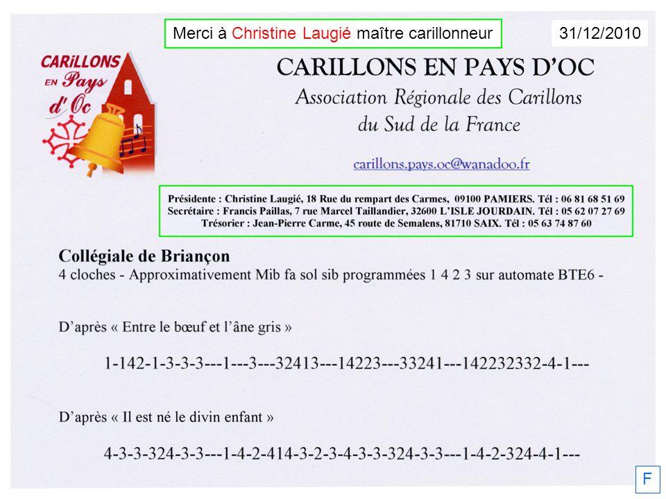 31/12/2010 F Merci à Christine Laugié maître carillonneur
