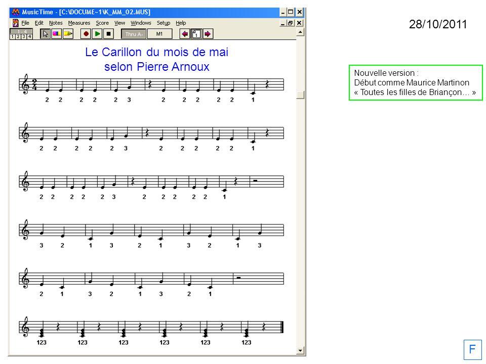 28/10/2011 F Nouvelle version : Début comme Maurice Martinon « Toutes les filles de Briançon… » Le Carillon du mois de mai selon Pierre Arnoux
