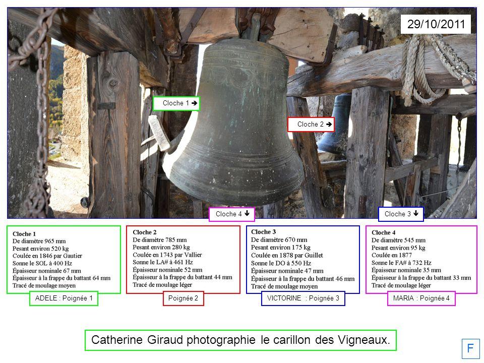 29/10/2011 F Catherine Giraud photographie le carillon des Vigneaux. Cloche 2 Cloche 1 Cloche 4 Cloche 3 Poignée 2ADELE : Poignée 1MARIA : Poignée 4VI