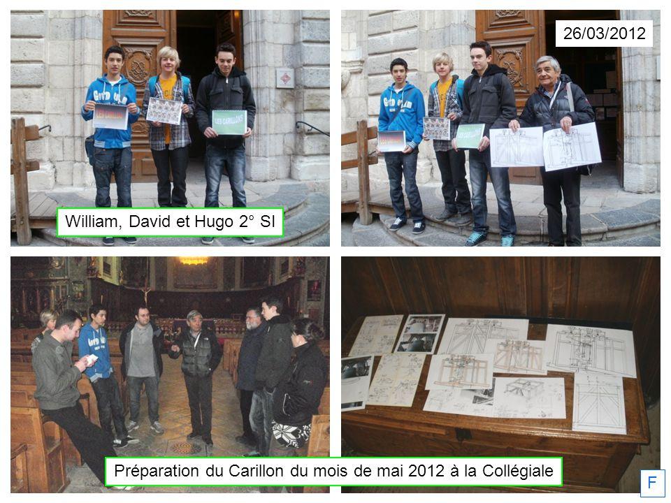 26/03/2012 Préparation du Carillon du mois de mai 2012 à la Collégiale F William, David et Hugo 2° SI