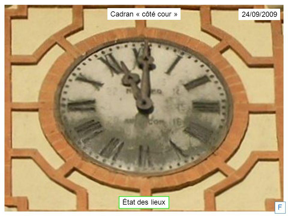 05/10/2009 F Cadran « côté cour » État des lieux