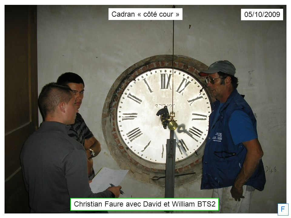 Dimanche 11/10/2009 Christian Faure commence… Première couche… F Cadran « côté cour »