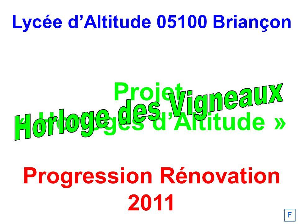Lycée dAltitude 05100 Briançon Projet « Horloges dAltitude » Progression Rénovation 2011 F