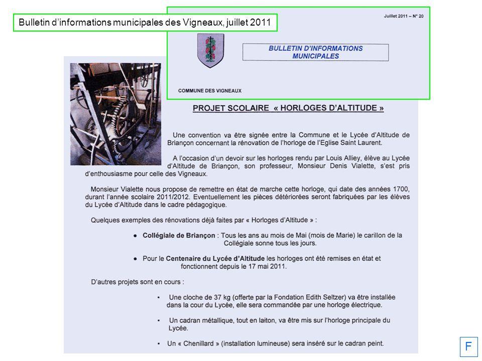 Bulletin dinformations municipales des Vigneaux, juillet 2011 F
