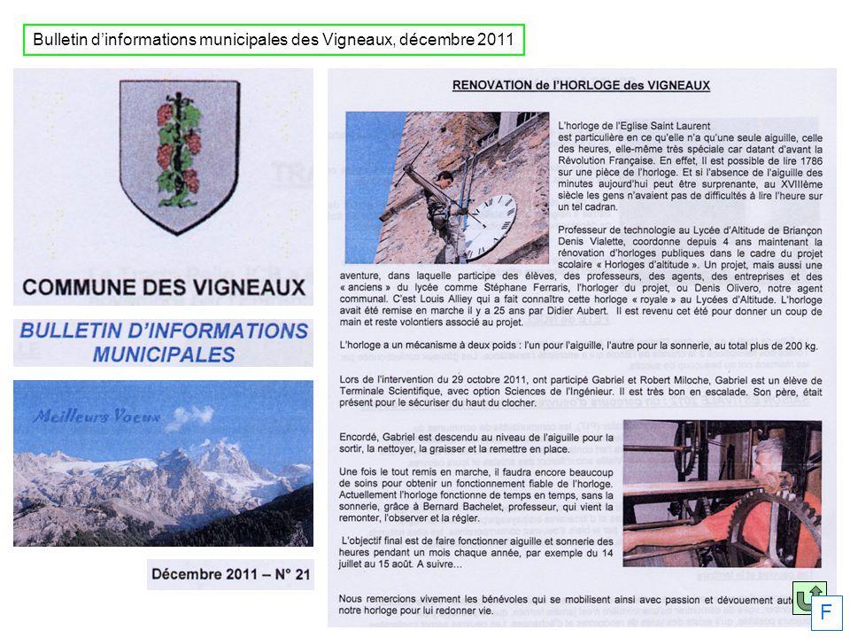 Bulletin dinformations municipales des Vigneaux, décembre 2011 F