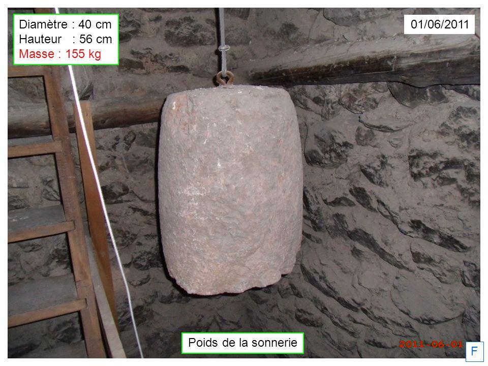 Poids de la sonnerie F 01/06/2011 Diamètre : 40 cm Hauteur : 56 cm Masse : 155 kg