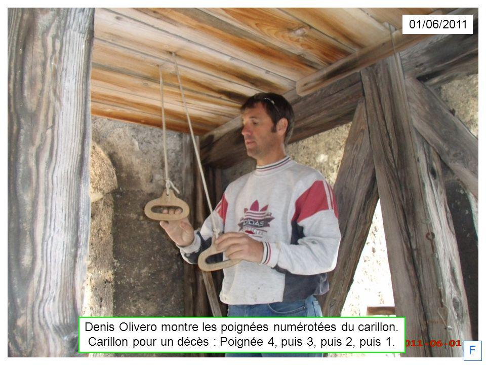 Denis Olivero montre les poignées numérotées du carillon.