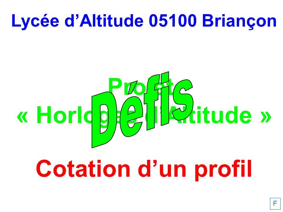 Lycée dAltitude 05100 Briançon Projet « Horloges dAltitude » Cotation dun profil F