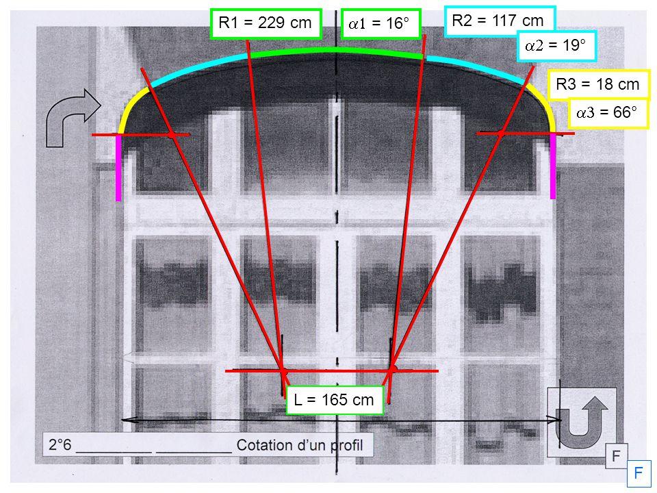 R3 = 18 cm R2 = 117 cm R1 = 229 cm = 66° = 19° = 16° F L = 165 cm